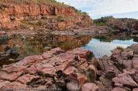 AUSTRALIA, Western Australia, West Kimberley. Charnley River. Water-scoured sandstone in gorge.