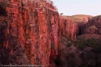 AUSTRALIA, Western Australia, East Kimberley, Kununurra. Cockburn Range, El Questro Wilderness Park. Sandstone cliffs in Cockburn Range, dawn.