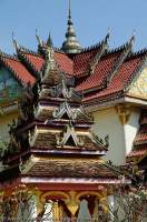 LAOS, Champasak, Pakse. Roof detail at Wat Tham Fai temple.
