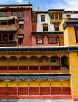 Interior wall detail, Thiksey Gompa, one of largest Buddhist monasteries in Ladakh.