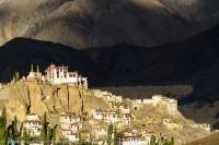 Lamayuru (Yungdrung) Gompa (Buddhist monastery) at sunset.