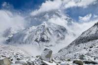 NEPAL. Makalu (8475m), with rising cloud & fresh snow, Makalu - Barun National Park.