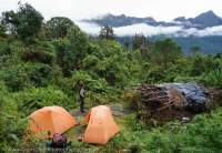 Camp below Beroro Pass, Star Mountains, Papua New Guinea.