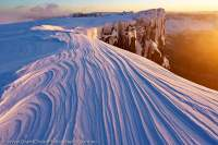 Wind scoured snow at dawn, winter, Du Cane Range, Cradle Mountain - Lake St Clair National Park, Tasmanian Wilderness World Heritage Area