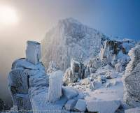 Rime and snow encust the dolerite crags of Mt Field West, Mt Field National Park, Tasmanian Wilderness World Heritage Area.